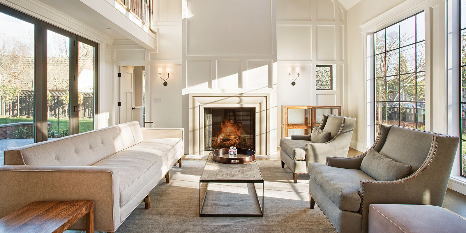 Beautiful living room interior with fireplace in new luxury home